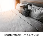 bed maid up with clean white... | Shutterstock . vector #745575910