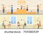 bakery cafe set. illustrations... | Shutterstock . vector #745580539