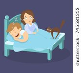 snoring husband in bed with... | Shutterstock . vector #745581253