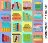 set of stacks of books. bright... | Shutterstock .eps vector #745581739