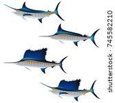 set of swordfish isolated on... | Shutterstock .eps vector #745582210