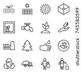 thin line icon set   bio  sun... | Shutterstock .eps vector #745583599
