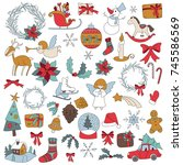 christmas sticker icon set with ... | Shutterstock .eps vector #745586569