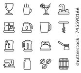 thin line icon set   wineglass  ... | Shutterstock .eps vector #745590166