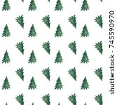 green christmas trees pattern... | Shutterstock . vector #745590970