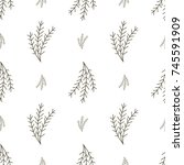 seamless pattern with winter... | Shutterstock .eps vector #745591909