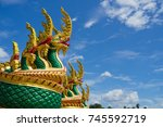 serpent temple. king naga at... | Shutterstock . vector #745592719