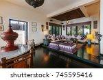 luxury villa living room... | Shutterstock . vector #745595416