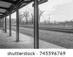 empty above ground outdoor... | Shutterstock . vector #745596769
