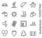 thin line icon set   dome house ... | Shutterstock .eps vector #745597534