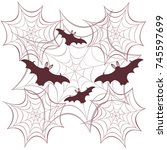 obwebs and bats. halloween... | Shutterstock .eps vector #745597699