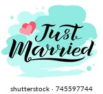 hand drawn just married... | Shutterstock .eps vector #745597744