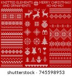 knitted elements and borders... | Shutterstock .eps vector #745598953