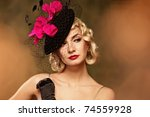 beautiful woman retro portrait   Shutterstock . vector #74559928