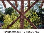 abstract outdoor wooden canopy... | Shutterstock . vector #745599769