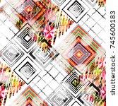 seamless pattern patchwork...   Shutterstock . vector #745600183