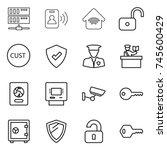 thin line icon set   server ... | Shutterstock .eps vector #745600429