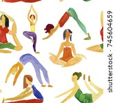 yoga pattern icons art web... | Shutterstock . vector #745604659