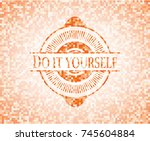 do it yourself orange mosaic... | Shutterstock .eps vector #745604884