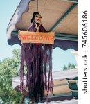 halloween skeleton decoration | Shutterstock . vector #745606186