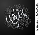 christmas composition with...   Shutterstock .eps vector #745609090