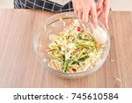 the process of chef cooking... | Shutterstock . vector #745610584