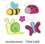 Set Of Fun Insects. Vector...