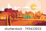 flat vector landscape... | Shutterstock .eps vector #745613023