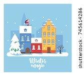 winter magic cityscape. the... | Shutterstock .eps vector #745614286