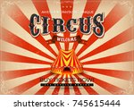 vintage circus poster ... | Shutterstock .eps vector #745615444