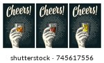 male hand holding glass tequila ... | Shutterstock .eps vector #745617556
