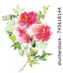 a bouquet of large watercolor... | Shutterstock . vector #745618144