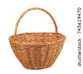 empty wicker basket for fruits... | Shutterstock . vector #745619470