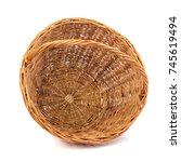 empty wicker basket for fruits... | Shutterstock . vector #745619494