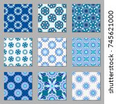 set of nine vector geometric... | Shutterstock .eps vector #745621000