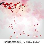 cherry blossom for chinese new... | Shutterstock .eps vector #745621660