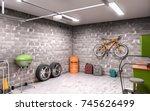 garage interior 3d illustration | Shutterstock . vector #745626499