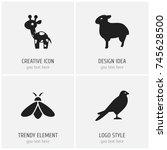 set of 4 editable zoology icons....