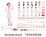 nurse in retro uniform... | Shutterstock .eps vector #745634038