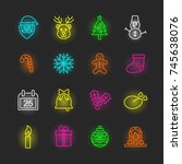 christmas neon icon set  vector ... | Shutterstock .eps vector #745638076