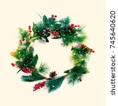 green christmas decorative...   Shutterstock . vector #745640620