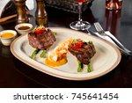 beef steak and shrimp with...   Shutterstock . vector #745641454