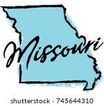 hand drawn missouri state design | Shutterstock .eps vector #745644310