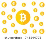 bitcoin  euro  dollar value... | Shutterstock .eps vector #745644778