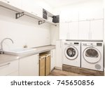 laundry room with washing and...   Shutterstock . vector #745650856