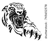 anger of a tiger. black tattoo. ... | Shutterstock .eps vector #745652578