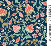 seamless colorful floral... | Shutterstock .eps vector #745652878