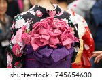 young girl wearing japanese... | Shutterstock . vector #745654630