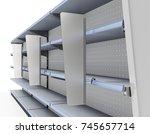 supermarket shelf with shelf... | Shutterstock . vector #745657714
