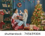 merry christmas and happy... | Shutterstock . vector #745659304